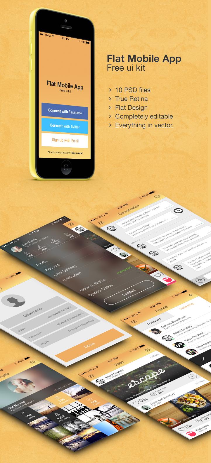 Flat Mobile App - Free UI kit