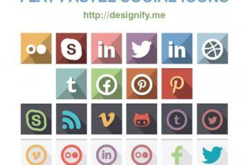 Flat Pastel Social Icons – 22 Colour Sets