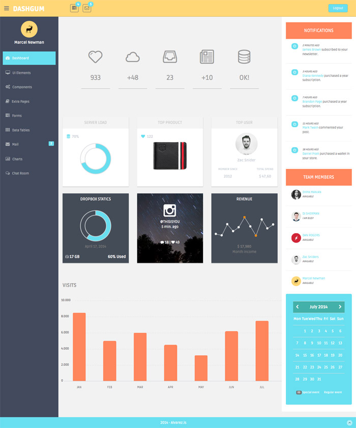DashGum – Free Bootstrap Dashboard Template