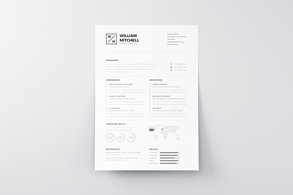 free minimalistic clean resume psd ai freebies designershare. Black Bedroom Furniture Sets. Home Design Ideas