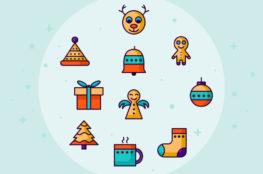 Retro Christmas Icon Set