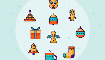 Retro Christmas Icon Set